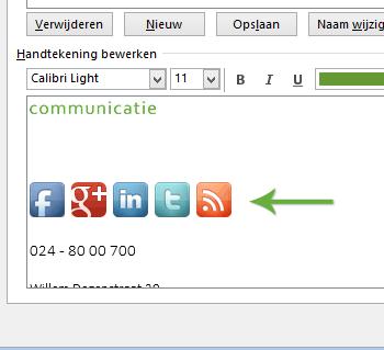 Social media iconen toevoegen