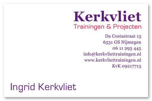 visitekaartje voorkant Kerkvliet trainingen & projecten